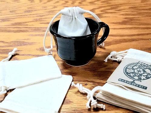 Organic Cotton Reusable Tea Bags- 6 count