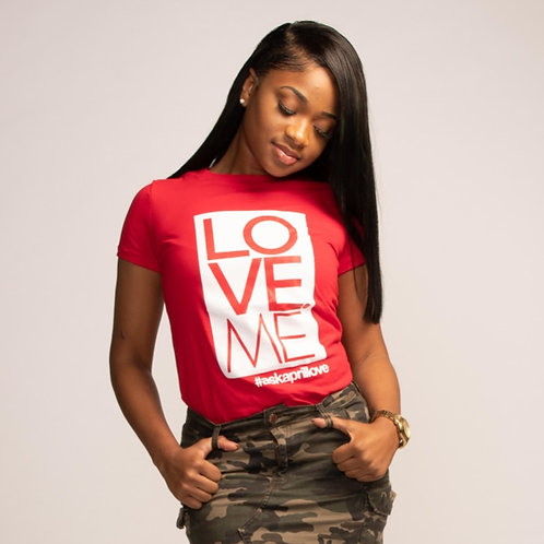 LOVE ME Logo Female Fitted Tee (Red)