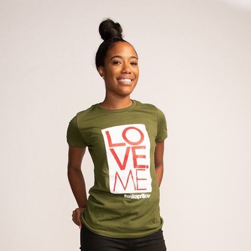 LOVE ME Logo Female Fitted Tee (Green)