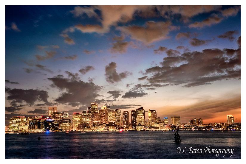 Boston Harbor at twilight