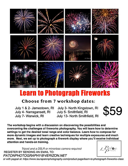 Learn to photograph Fireworks class