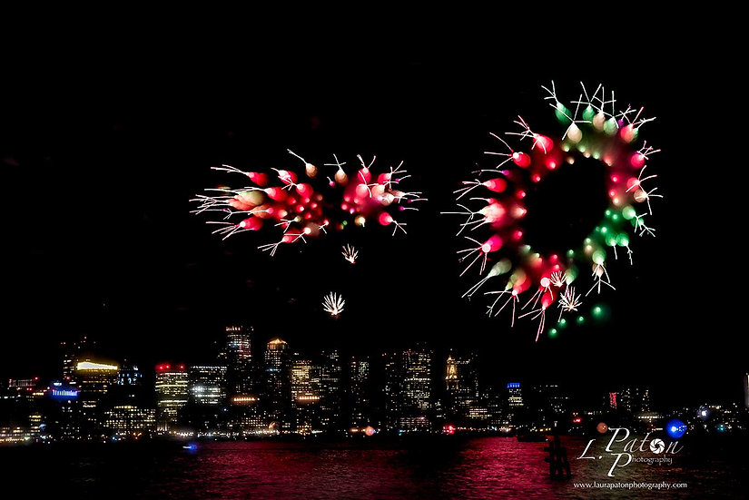 Abstract from fireworks over Boston Harbor 1