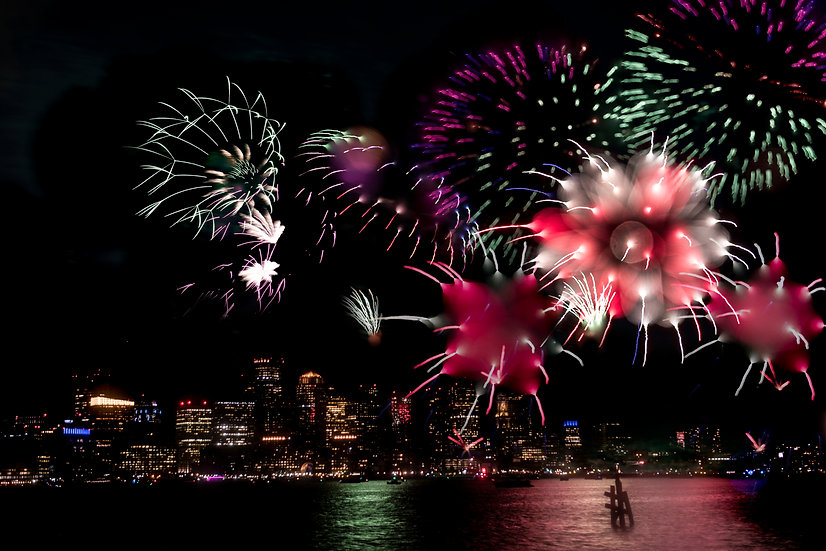 Abstract from fireworks over Boston Harbor 2