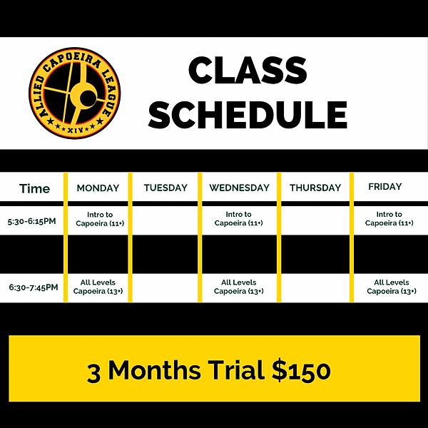 Capoeira Schedule Starting April 2 2021.