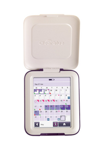 Clearblue Advanced Fertility Monitor, open with screen display visible.