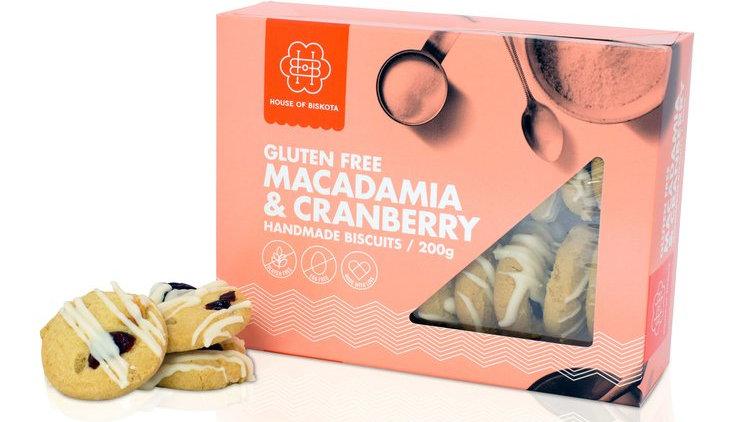Gluten Free Macadamia & Cranberry Biscuits