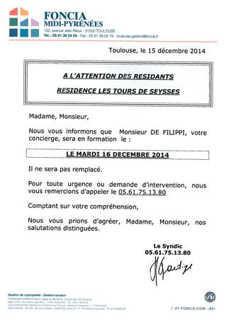 Absences de M. de Filippi