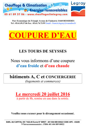ATTENTION : COUPURES D'EAU
