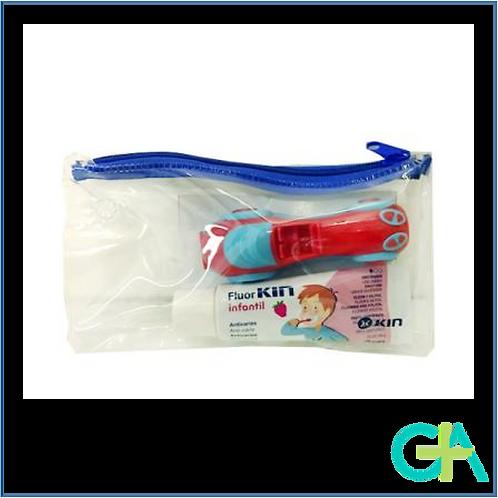 Kin Cepillo dental viaje + pasta Fluorkin Infantil 25ml