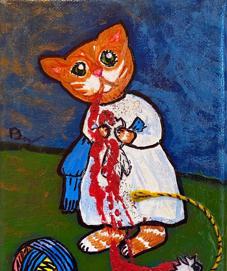 Kitten With (Decapitated) Dove by B.Z. Smith