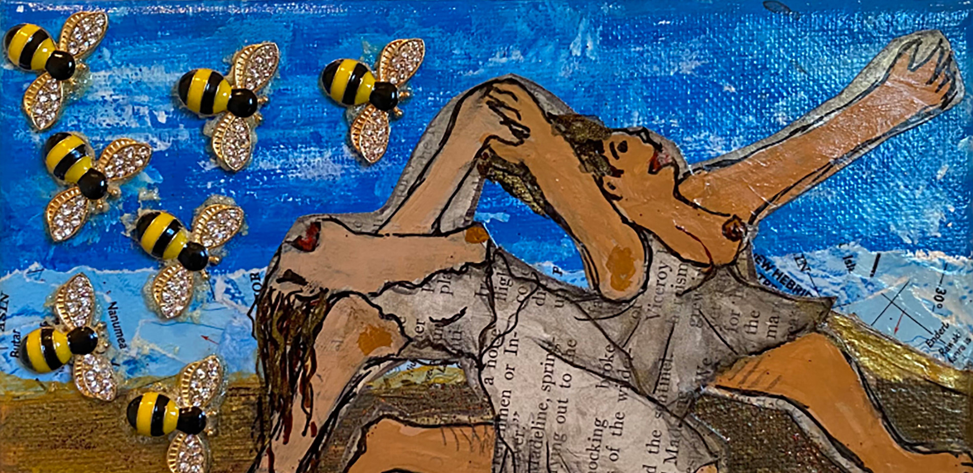 Two Women Running Away from Giant Bees (A Pablo Parody)  by B.Z.Smith