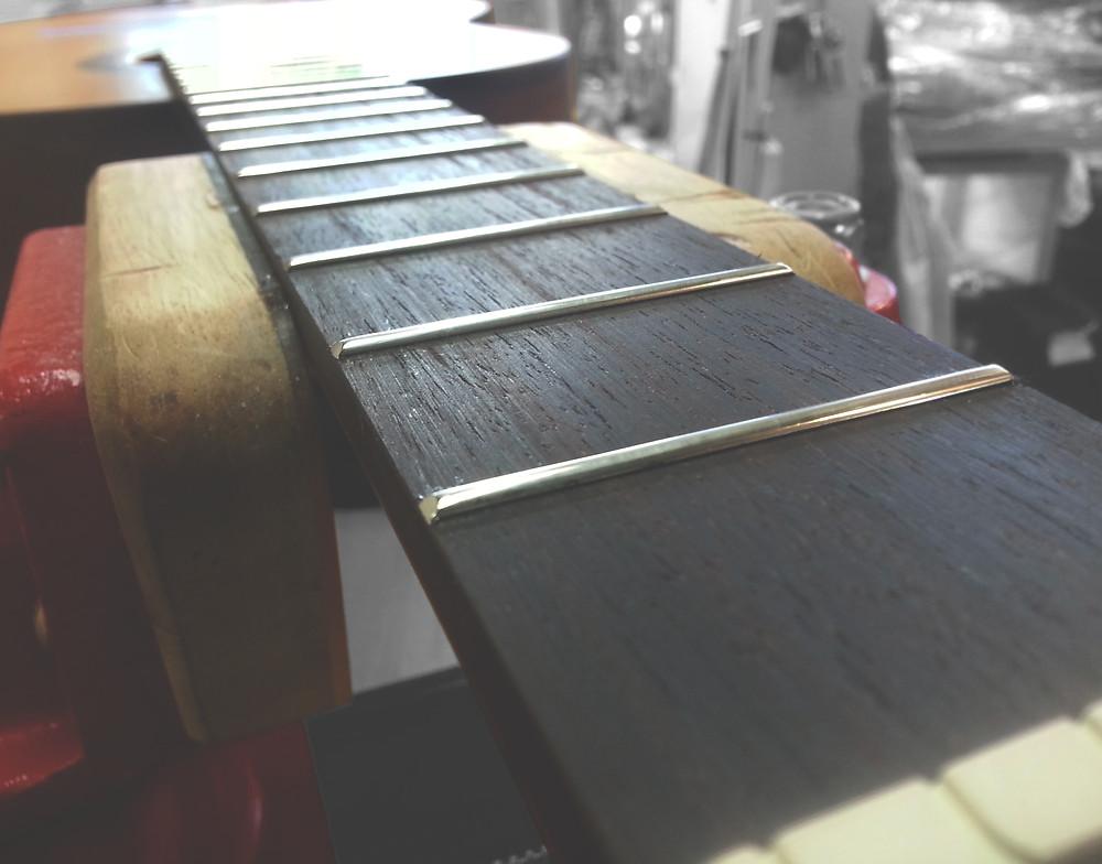 my last rosewood fingerboard installation - Image by Lesley Morris