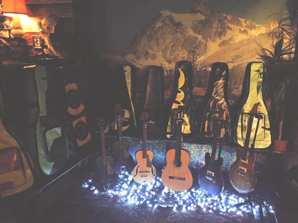 The guitars and cases were on display all night.