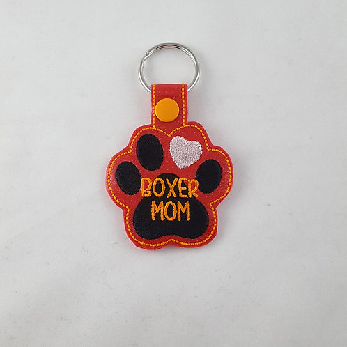 """Embroidered """"Boxer Mom"""" key fob"""