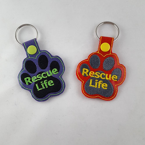 "Embroidered ""Rescue Life"" key fob"