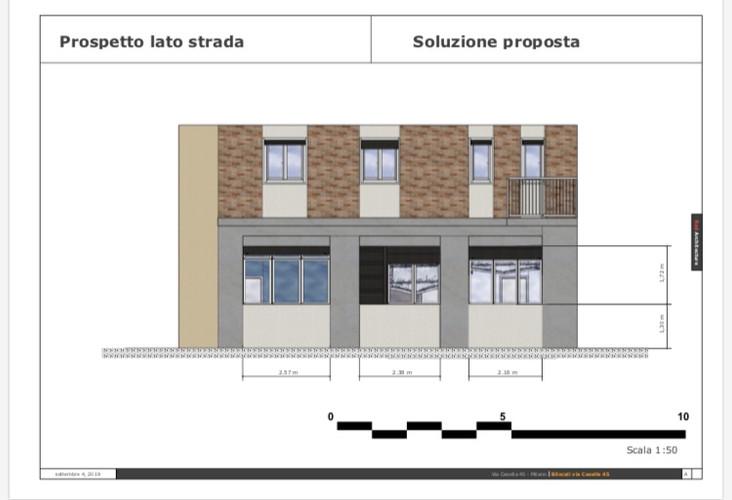Prospetto lato strada/Via Casella 45