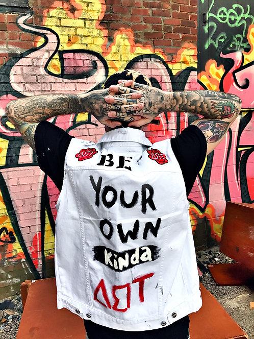 "Denim ""be your own ART"" vest"