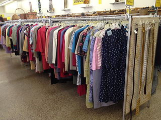 Clothing on racks in store