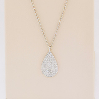 14k white gold, .19ct total weight diamond pendant