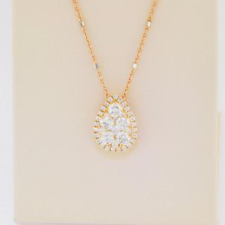 18k rose gold, .61ct total weight diamond pendant