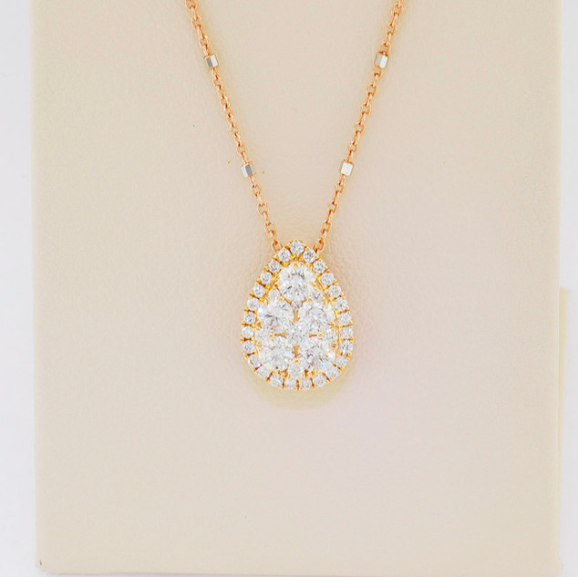 18k rose gold, .61ct total weight diamond pendant
