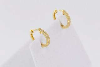 14k yellow gold, .24ct total weight, micro pave earrings