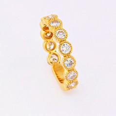 14k yellow gold, 1.43ct total weight, milgrain bezel diamond eternity ring