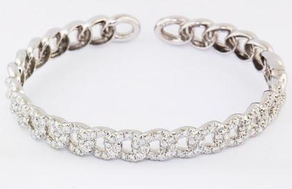 14k white gold 4.94ct total weight diamond link bracelet