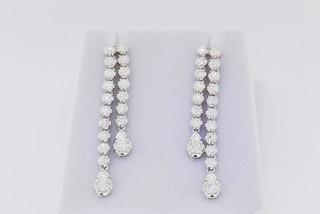14k white gold, 1.92ct round diamond pront set earrings.