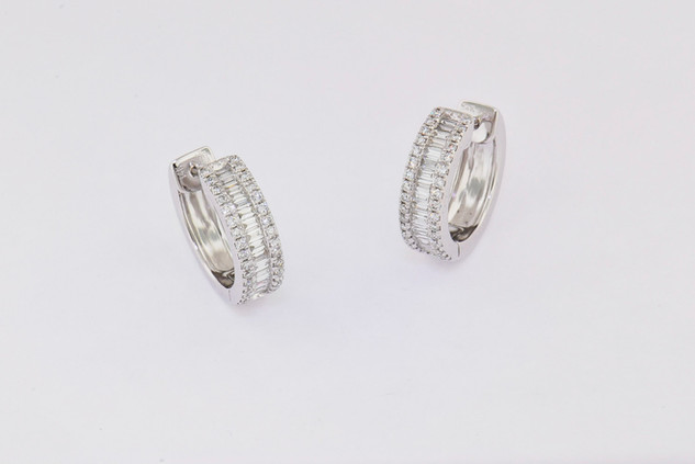 14k white baguettes/rounds, micro pave channel set earrings.