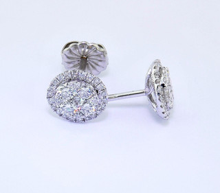 14k white gold 1.17ct total weight diamond cluster studs