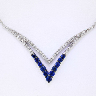 14k white gold .14ct total weight diamond .25ct total weight sapphire, necklace