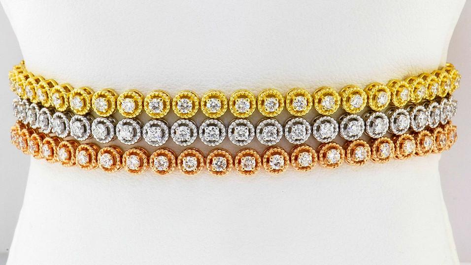 18k gold tri-color, 1.20ct total weight, diamond triple tennis bracelet