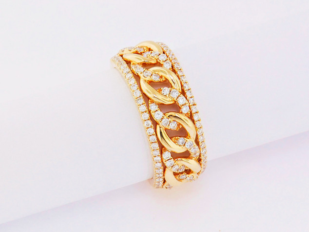 14k yellow gold, .63ct total weight, micro pavé chain link ring