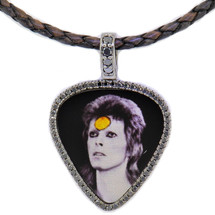 David Bowie - .60ct black diamonds set in 14k white gold, photo laser etched in sterling silver