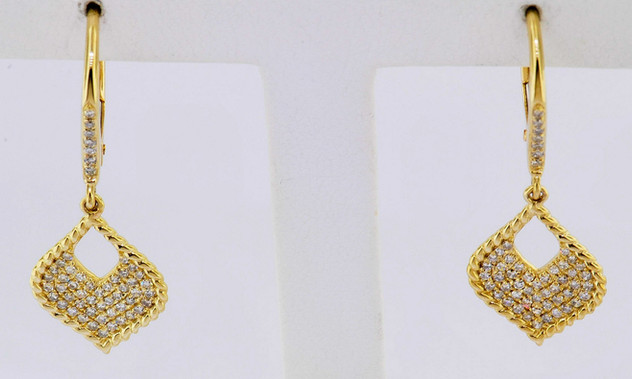 14k yellow gold .31ct total weight diamond earrings