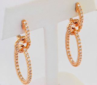 14k rose gold 2.27ct total weight diamond earrings