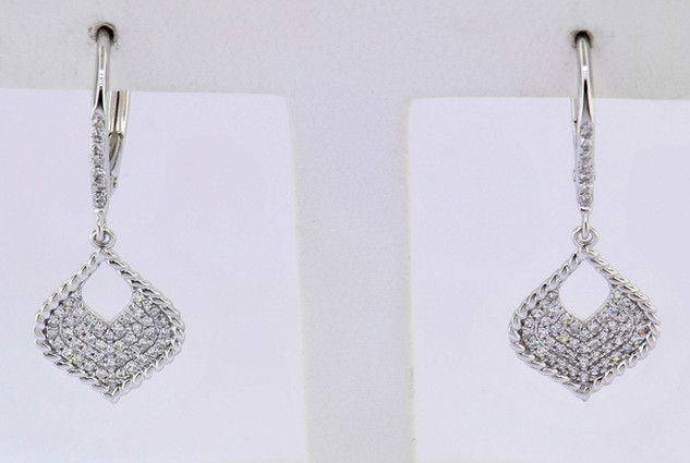 14k white gold .29ct total weight, diamond earrings