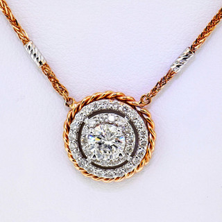 14k rose and white gold .92ct total weight diamond pendant