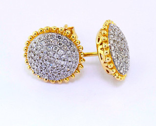 14k yellow gold .38ct total weight, diamond studs earrings