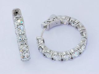 14k white gold 5.5ct total weight diamond hoop earrings_
