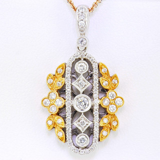 18k two-tone, white and rose gold 1.0ct total weight, diamond necklace