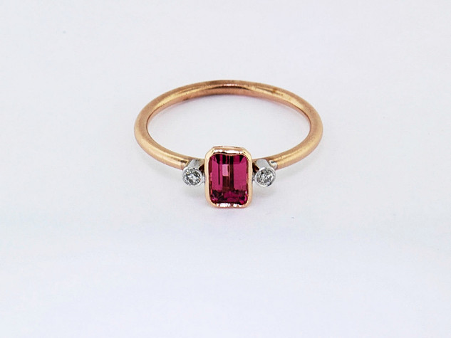 14k pink gold .08ct total weight diamond, .74ct total weight pink sapphire ring