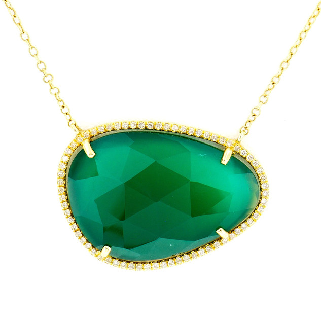 14k yellow gold .15ct total weight diamond setting, 10.24ct total weight center stone-green onyx