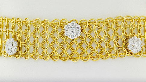14k yellow gold 1.89ct total weight diamond cluster, chain link bracelet