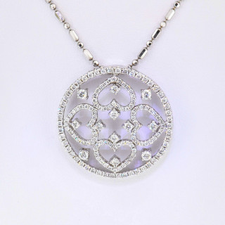 18k white gold 1.72ct total weight, diamond pendant