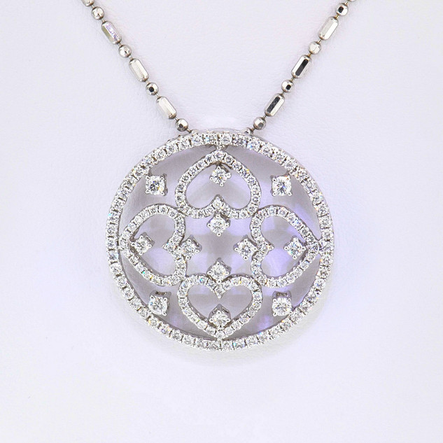 18k white gold 1.72ct total weight, diamond pendant