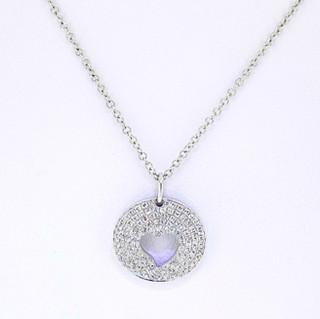 14k white gold .25ct total weight diamond pavè heart pendant