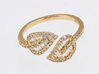 14k yellow gold .53ct total weight diamond leaf ring