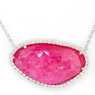 14k white gold .60ct total weight diamond frame, pink sapphire center stone